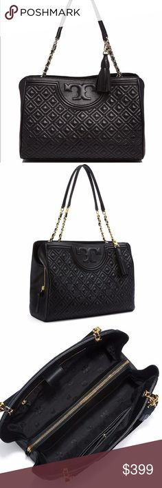 """Tory Burch Fleming Open Shoulder Bag Simply Gorgeous ! Ladylike quilting and chains: the link to a pulled-together look. Made of supple leather detailed with an embossed logo, a unique diamond pattern and a removable tassel. Featuring a convenient center zip compartment and a polished strap, it's a classically chic style for day or evening.Magnetic snap closure. Leather-and-chain strap with 9.56"""" drop. 1 interior center-zip compartment, 1 zipper pocket, 2 open pockets. Dust bag is included…"""