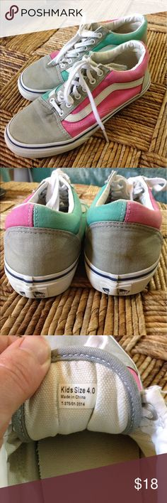 Kids Pink, gray and turquoise Vans Size kids four or women's 6.5. GUC Vans Shoes Sneakers