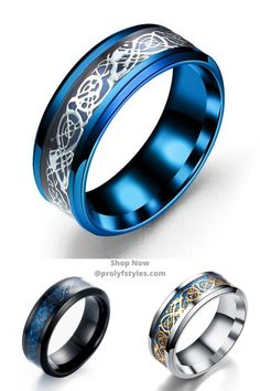 Take your fashion style to the next level in this men's inlay ring. This fashionable stainless steel ring will complete and enhance any men's outfit making it better. Men's Fashion Jewelry, Fashion Rings, Men's Jewelry, Fashion Accessories, Jewellery, Unique Mens Rings, Rings For Men, Mens Rings Online, Smart Ring