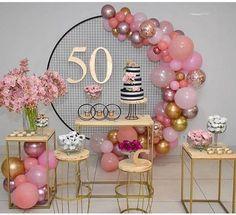 50th Birthday Balloons, Moms 50th Birthday, 50th Birthday Party Decorations, Elegant Birthday Party, 50th Party, Balloon Decorations Party, Birthday Parties, 50th Birthday Ideas For Women, 50th Birthday Themes