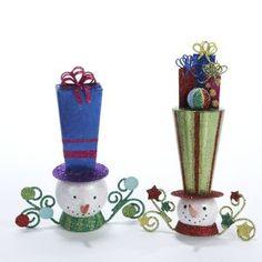 Tin Snowman with Presents on Tall Hat Christmas OrnamentsItem #S020...