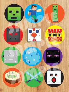$5.00 Cute Cupcake toppers for your next Minecraft Party...This is my own art.