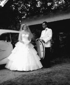 A father helping his daughter out of the car on her wedding day (1956). | Florida Memory