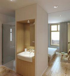 Effectieve slaapkamer met badkamer