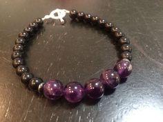 Amethyst, Hematite, Onyx Bracelet - February Birthstone - healing crystal bracelet - New Moon Beginnings - 1