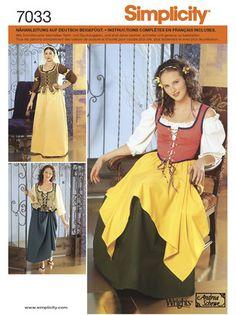 Schnittmuster: Historisches Kostüm - Magd - Kostüme - Simplicity - burda style