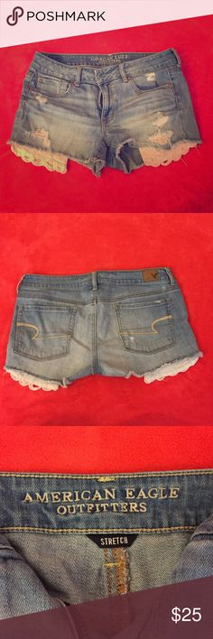 """American eagle shortie shorts These size 12 American Eagle shortie stretch shorts are perfect for spring and summer. They can be dressed up with a nice top or worn to the beach. I only wore them for one summer. One of the """"rips"""" on the left side, as pictured in the fourth picture, is more ripped than the others. You can't tell though because it looks like part of the style! The shorts are in great condition! American Eagle Outfitters Shorts Jean Shorts"""