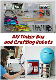 Create your own Tinker Box and then craft robots with this fun STEM activity for kids!