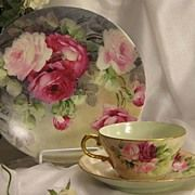 "SOLD ""FRENCH ROSES TEA CUP & SAUCER"" Elegant Antique Theo Haviland Limoges France Te"