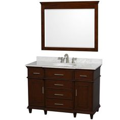 Wyndham Collection Berkeley Single Vanity Dark Chestnut 48 in. with White Carrera Marble Top with White Undermount Oval Sink and 44 in. Mirror Wyndham Collection,http://www.amazon.com/dp/B00GQJ3CUO/ref=cm_sw_r_pi_dp_ZCZ2sb0B3C7TS9DB