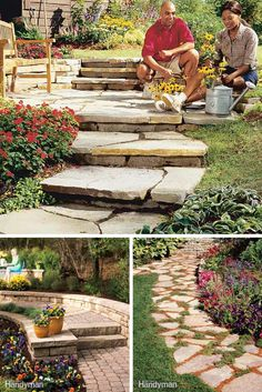 Garden Paths: Find garden paths to build on any budget that you can make with stone, gravel, brick and even wood. http://www.familyhandyman.com/garden-structures/garden-paths