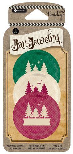 Hampton Arts Vintologie Jar Jewelry Tree Print Metal Mason Jar Lid Covers