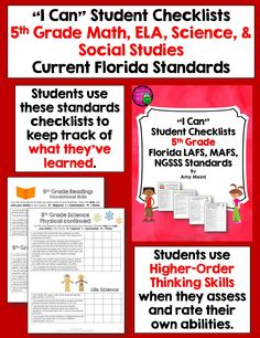 """""""I Can Student Checklists for Florida LAFS, MAFS, & NGSSS Standards - 5th Grade Students use these checklists to assess and rate their learning. These can be used in a data binder or stapled with the included cover to make a student book. Have students revisit the standards throughout the year as their learning increases! $"""