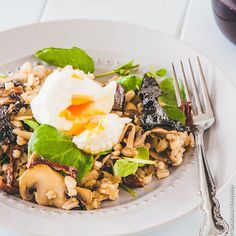 Barley and Wild Mushroom Salad with Poached Egg | DeliciousEveryday.com