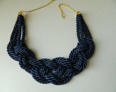 Navy Sailor Knot,Knot Necklace, blue gold, choker, Rope Necklace,Nautical Necklace, bib necklace,navy rope necklace,nautical wedding