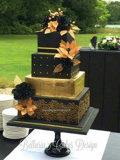 Luxury Wedding Cake, Black Wedding Cakes, Unique Wedding Cakes, Beautiful Wedding Cakes, Gold Wedding, Wedding Black, Black Weddings, Beautiful Cakes, Dream Wedding