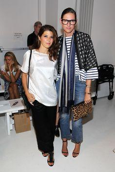 Marisa Tomei (L) and Jenna Lyons attend the Zero + Maria Cornejo fashion show during Mercedes-Benz Fashion Week Spring 2015
