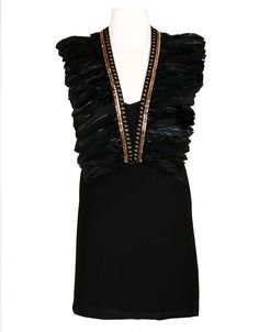 INSPIRIT DRESS & FEVOR FEATHER OVERPIECE BLACK