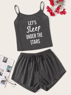 To find out about the Slogan Print Cami Pajama Set at SHEIN, part of our latest Pajama Sets ready to shop online today! Cute Pajama Sets, Cute Pjs, Cute Pajamas, Satin Pyjama Set, Satin Pajamas, Pyjamas, Cute Lazy Outfits, Outfits For Teens, School Outfits