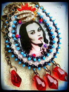 """""""Blood Lust...Eff Glitter Dust!""""   Lily Munster necklace by Create Beautiful Beads on Facebook"""