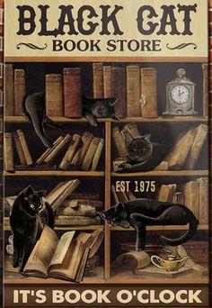 Crazy Cat Lady, Crazy Cats, I Love Books, Good Books, Cute Cats, Funny Cats, Black Cat Art, Black Cats, Cat Posters