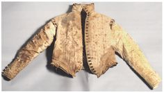 Pinked linen burial doublet of Antonello Petrucci, ca. 1585, from his tomb in St. Domenico Maggiore. Naples, Italy.