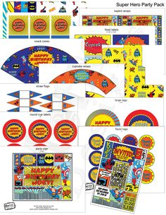 Superhero Theme Party Kit  Digital Files by MetroEvents on Etsy, $17.98