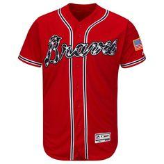 Atlanta Braves Majestic Alternate Flex Base Authentic Collection Team Jersey - Scarlet
