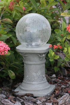 Accent Solar Chameleon Crack LED Glass Gazing Ball W/Pedestal 8-in Color Garden