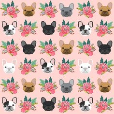 French Bulldog flowers florals frenchies dog girls flowers baby nursery sweet painted flower fabric by petfriendly on Spoonflower - custom fabric
