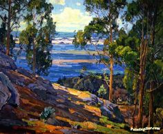 Eucalyptus Trees and Bay Artwork by William Wendt