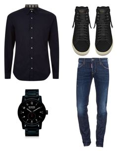 street by fdaraiza on Polyvore featuring Burberry, Dsquared2, Yves Saint Laurent, Nixon, men's fashion and menswear