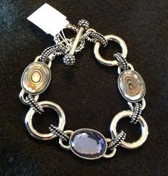 """Lia Sophia EPIPHANY Bracelet, silver with abalone and cut crystals, 7-8"""" toggle. #1C016 $98 retail. Bought mine as a sample on 2/8/2010.  I also purchased another for the bonus price of $15 on 09/01/2009."""