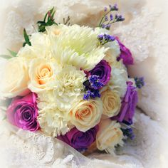 Dazzling wedding bouquet: Floral bouquet of purple and white roses, lavender, and carnations. Floral Bouquets, Wedding Bouquets, Carnations, White Roses, Lavender, Events, Purple, Gallery, Beautiful