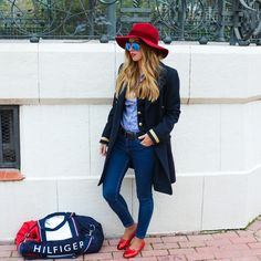 Red hat, Tommy Hilfiger, outfit sport, gracebeggystyle ,