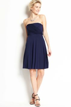 The charming A-line strapless bateau neck navy chiffon short bridesmaid dress with the asymmetric ruches bodice and the natural ethereal skirt
