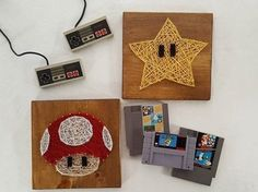 I love these Super Mario Brothers star and mushroom decor, it's perfect for a little boys room or as a present for a fellow nerd or video game lover.    Hey, I found this really awesome Etsy listing at https://www.etsy.com/listing/468935299/super-mario-star-and-mushroom-set-of-2