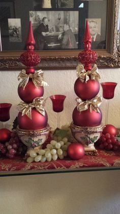 How beautiful are these? With a hot glue gun, ornaments, a pretty pot and ribbon--super easy and gorgeous for the mantel or hallway! Diy Xmas Ornaments, Diy Christmas Decorations Easy, Christmas Centerpieces, Christmas Crafts For Kids, Xmas Crafts, Homemade Christmas, Christmas Fun, Holiday, Christmas Mantels