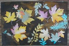 Autumn Leaves Quilt Block Hand Painted on Cotton. $39.00, via Etsy.