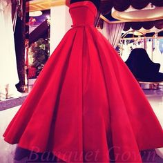 Red Ball Gown Evening Dresses 2016 Strapless with Bowknot Red Prom Dress - Thumbnail 1
