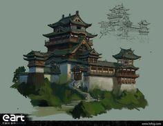 Environment Painting, Environment Concept Art, Environment Design, Landscape Concept, Fantasy Landscape, Landscape Art, China Architecture, Concept Architecture, Japan Village