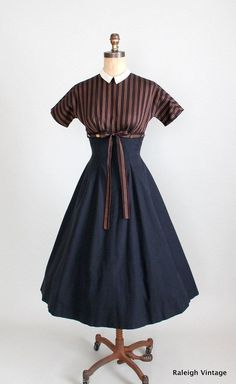 Vintage 1950s Mr Mort Full Skirt Dress via Etsy.  Love the striped bodice and black skirt