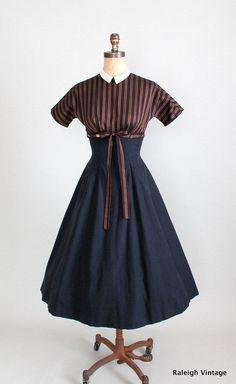 Vintage 1950s Mr Mort Full Skirt Dress via Etsy.  Love the striped bodice and black skirt