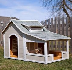 7 Dog House Ideas Are you a dog owner? If you are then you know how important it is to provide a safe outdoor place for you canine friend. Wooden dog houses are your best choice because they are sturdy provide great protection against the elements are Dog House With Porch, Wood Dog House, Pallet Dog House, Large Dog House, Canis, Dog House Plans, Dog House Blueprints, Cabin Plans, House Ideas