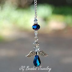 Iris Blue Hanging Angel - JG Beaded Jewelry