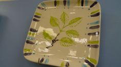 Delicate leaf stencil on bisque pottery - Pottery Painting ideas from Decoy Art Studio in Beavercreek, OH