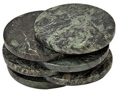 Green Marble Coaster a set of 6 stone Coasters for your bar and home drinks NEW