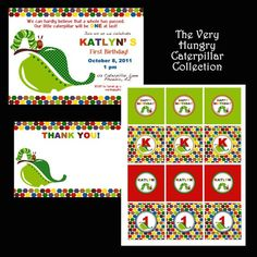 Very Hungry Caterpillar themed Party                                               invitations