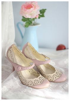 Pastel Retro Shoes-leather lace