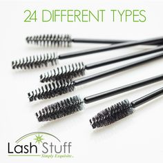 Lash Stuff offers 24 different types of brushes and applicators. Types Of Eyelash Extensions, Eyelash Extension Supplies, Brush Type, Lash Lift, Brushes, Eyelashes, Lashes, Blushes, Paint Brushes